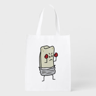 Burrito Boxer Fighter with Red Boxing Gloves Market Tote