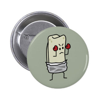 Burrito Boxer Fighter with Red Boxing Gloves Pinback Button