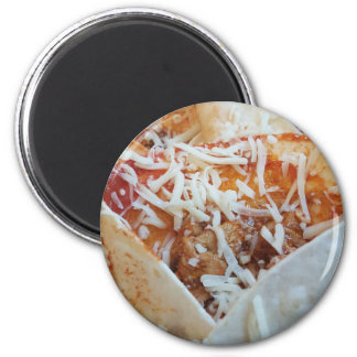 Burrito Cheese Funny Food Background 2 Inch Round Magnet