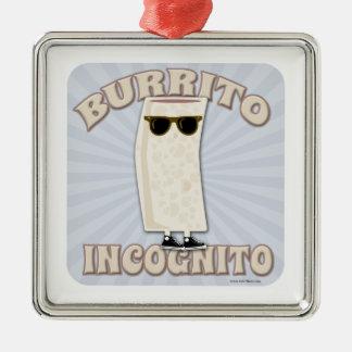 Burrito de incógnito adorno navideño cuadrado de metal