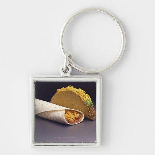 Burrito del Taco y de la haba Llavero Cuadrado Plateado