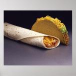 Burrito del Taco y de la haba Póster