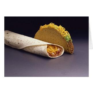 Burrito del Taco y de la haba Tarjeta De Felicitación