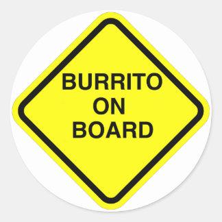Burrito On Board Classic Round Sticker