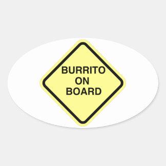 Burrito On Board Oval Sticker