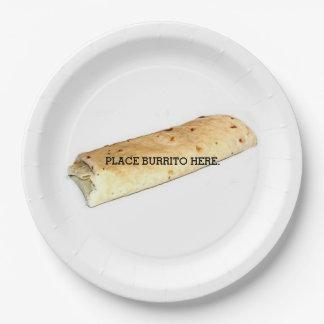 Burrito vendido por separado platos de papel