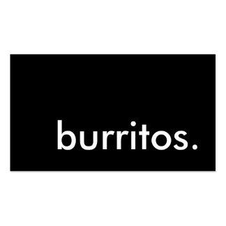 burritos. tarjeta de sacador de la lealtad tarjetas de visita