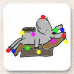 burro adornado como árbol de navidad posavasos