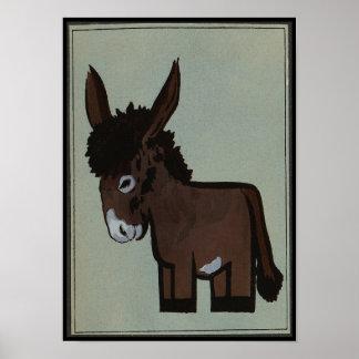 Burro - anticuario, ejemplo de libro colorido póster