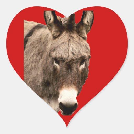 burro calcomanías de corazones