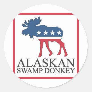 Burro de Alaska del pantano Pegatina Redonda