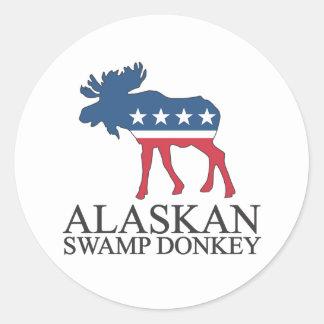 Burro de Alaska del pantano Etiquetas Redondas