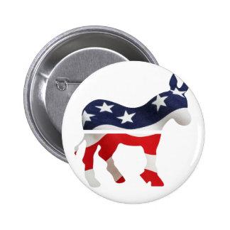 Burro de Demócrata con la bandera de los E.E.U.U. Pin Redondo De 2 Pulgadas