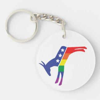 Burro de Demócrata del orgullo gay Llavero Redondo Acrílico A Doble Cara