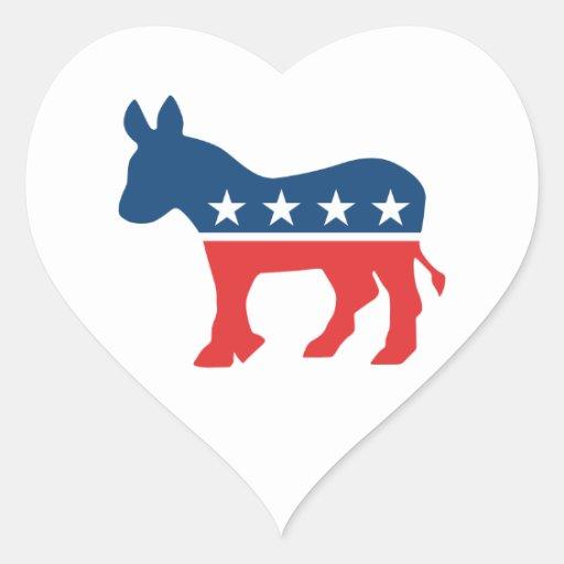Burro de Demócrata Pegatina En Forma De Corazón