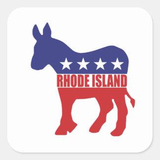 Burro de Rhode Island Demócrata Pegatina Cuadrada