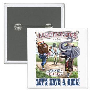 Burro del Dem contra el botón del elefante del GOP Pin
