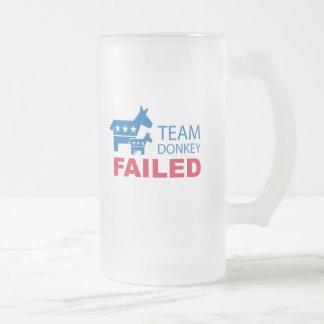 Burro del equipo fallado taza de cristal