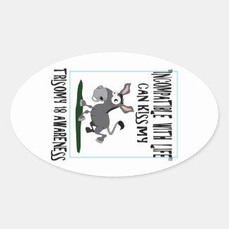 Burro del Trisomy 18 Calcomanías Ovaladas