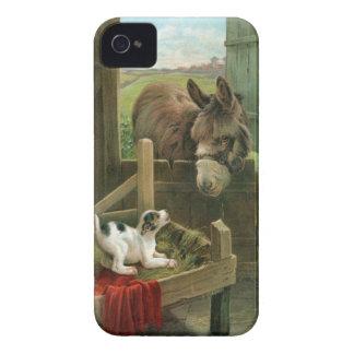Burro del vintage y perro de perrito en corral iPhone 4 cárcasas