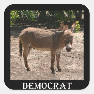 Burro Democratic Pegatina Cuadrada