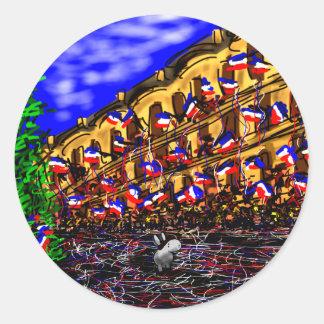 burro el día de Bastille en París Pegatina Redonda