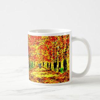 burro en hojas de otoño taza de café