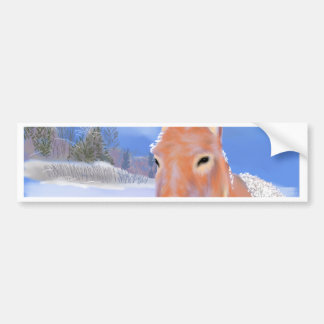 burro en la nieve pegatina para auto