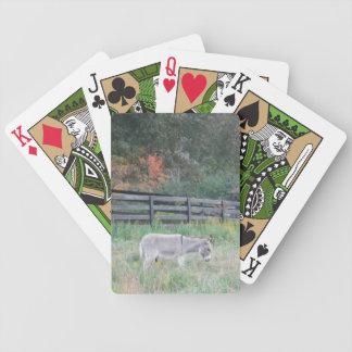 Burro en un campo del otoño de la caída baraja cartas de poker