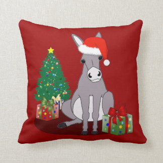 Burro lindo reversible de las Felices Navidad Almohada