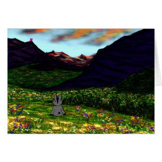 burro que mira fijamente las montañas felicitacion