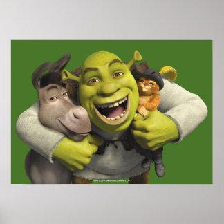 Burro, Shrek, y Puss en botas Posters