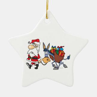 burro tonto de santa y del navidad adorno de cerámica en forma de estrella