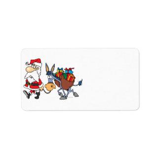 burro tonto de santa y del navidad etiquetas de dirección