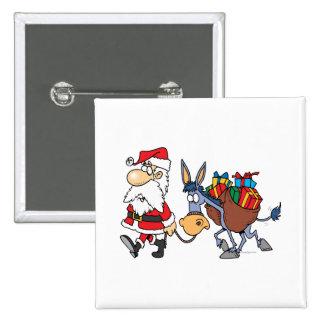 burro tonto de santa y del navidad pin cuadrada 5 cm