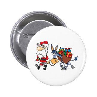 burro tonto de santa y del navidad pin redondo 5 cm