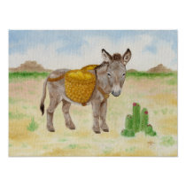 Burro with Basket art print