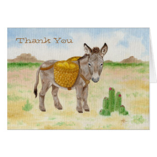Burro with Basket thank you notecard Stationery Note Card