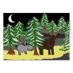 burro y alces en nieve tarjeta