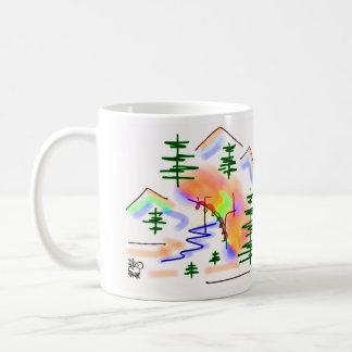 burro y arco iris taza clásica