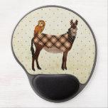 Burro y búho Mousepad de la tela escocesa Alfombrillas De Ratón Con Gel