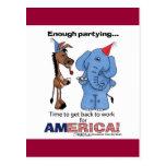 ¡Burro y elefante bastante que van de fiesta! Tarjeta Postal