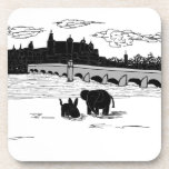 burro y elefante delante del puente posavasos de bebidas