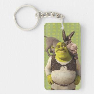 Burro y Shrek Llavero Rectangular Acrílico A Doble Cara