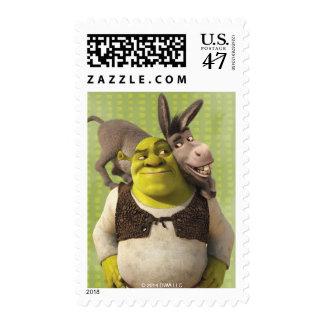 Burro y Shrek Sellos Postales