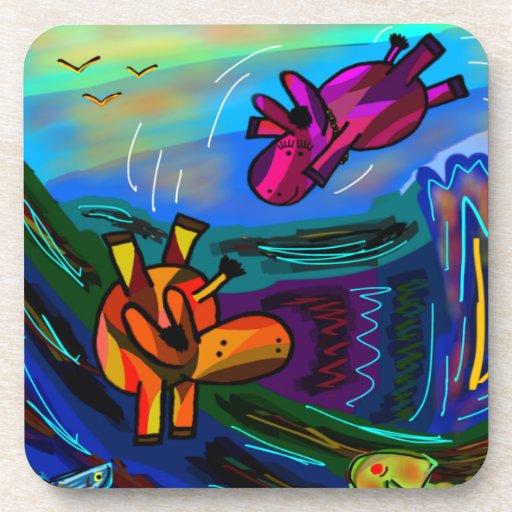 burros abstractos que nadan posavasos de bebida
