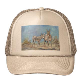 Burros de Oatman en el gorra del camionero
