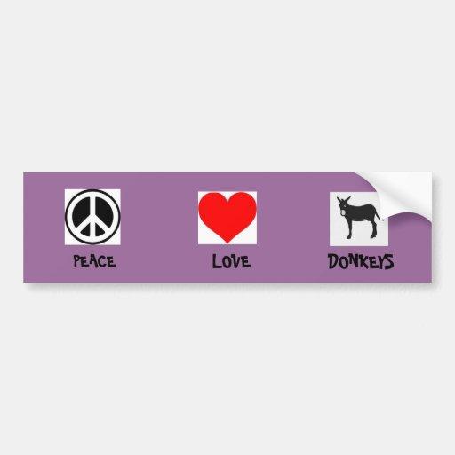 Burros del amor de la paz pegatina de parachoque
