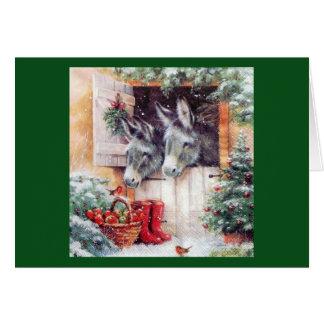 Burros del navidad tarjeta de felicitación