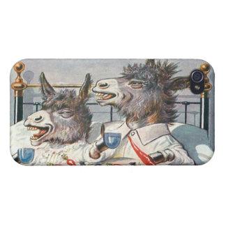 Burros divertidos del vintage - animales antropomo iPhone 4 carcasa